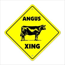 "Angus Crossing Sign Zone Xing | Indoor/Outdoor | 17"" Tall cattle cow steer beef steak meat"