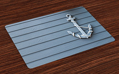 Lunarable Nautical Place Mats Set of 4, Anchor with Marine Rope on Digital Print of Wooden Planks Sea Ocean Life Theme, Washable Fabric Placemats for Dining Room Kitchen Table Decor, Blue and Grey by Lunarable