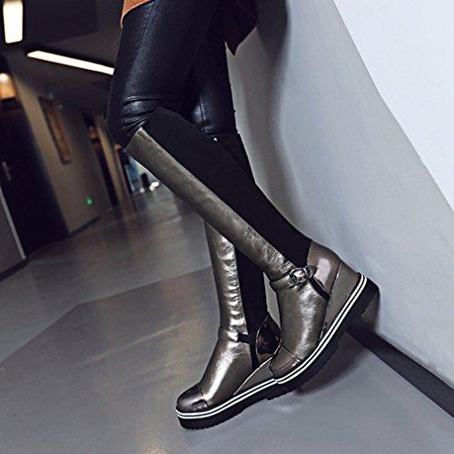 Btrada Womens Over The Knee Thigh High Boots Studded Belt Buckle Chunky Hidden Heels Velvet Riding Boots Silver WNRBzk