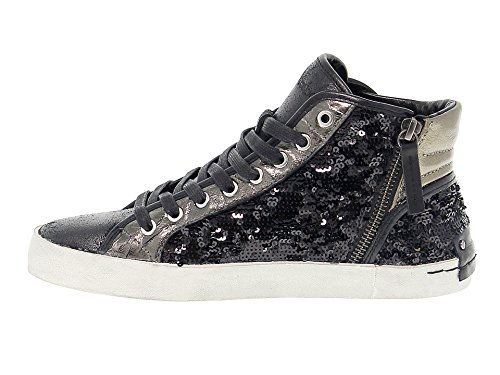 25041A1720 Leder London Damen CRIME Sneakers Schwarz Hi Top U7nZxTFq