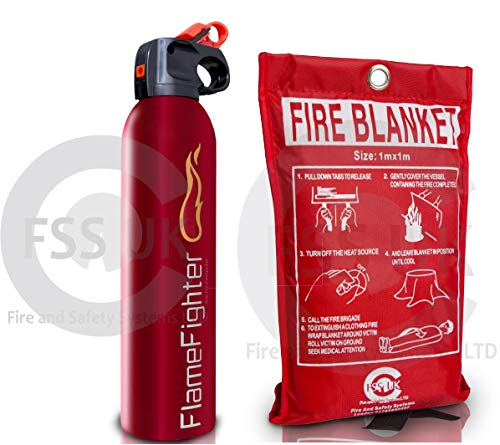 Introductory Offer on Fire Safety Pack. 600g Dry Powder Multi Purpose Fire Extinguisher + 1 M X 1M Fire Blanket. for Home Kitchen Taxi Caravans Boats Offices.