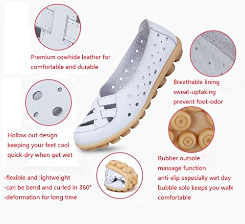 Loafers Moccasin Slip Labato on Casual Out a Driving Cut Flats Leather Shoes Women's White qfwwTSzXY