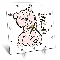 3dRose Russ Billington Teddy Bears - Pink Teddy Bear Birthday Hugs Illustration - 6x6 Desk Clock (dc_255131_1)