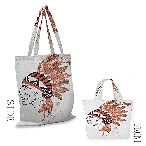 """folding shopping bag FeatherArtistic Portrait Native American Tribe Chief with Traditional Headdress Redwood Brown Black18""""W x 16""""H (Family Shopping Bag Partridge)"""