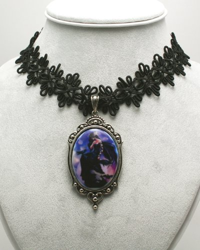 Faerie Glen Collectible - Faerie Glen Dark Skies Lace Choker Necklace by Munro, Includes Extender Chain to Lengthen to 10-Inch