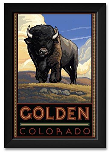 """Northwest Art Mall Golden Colorado Buffalo Framed Art Print by Paul A. Lanquist. Print Size: 12"""" x 18"""" Framed Art Size: 14"""" x 20"""""""