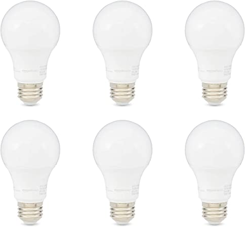 Amazonbasics 60w Equivalent Daylight Dimmable Cec Compliant A19 Led Light Bulb 6 Pack