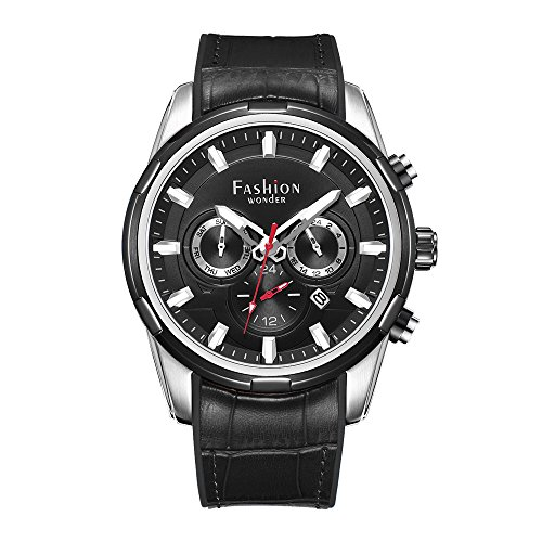 Fashion Wonder Men's Stainless Steel Watches Complete Calendar Tow time Zone Wrist Watches with Special Silicon&Leather Band (SS Case Black Dial) (Bezel Calendar Wrist Watch)