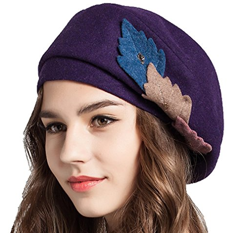Supergirl Women Hat Wool Beret Hat Fashion leaf Homburg Hat Purple