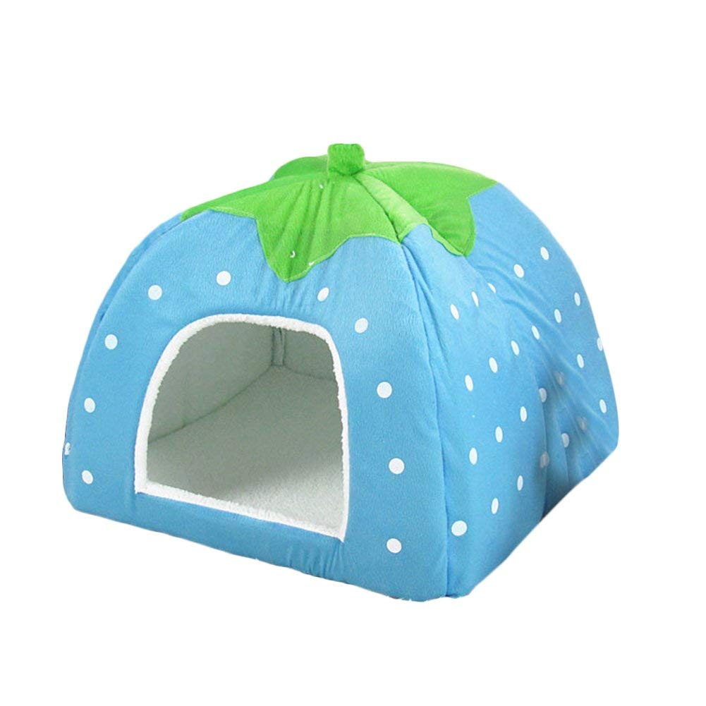 bluee S bluee S WLDD Cat Cave Dog Bed Foldable House Indoor Sofa For Small Puppy Cats Rabbit (color   bluee, Size   S)