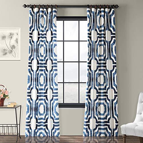 Half Price Drapes PRTW-D23B-96 Mecca Printed Cotton Curtain, 50 x 96, Blue (Drapes Curtains Pattern)