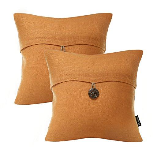 Phantoscope Set of 2 Orange Linen with Button Decorative Throw Pillow Case Cushion Cover 18