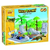 Cobi Blocks Mystery Bay Crocodile and Explorer Wild Story Toy, 150-Piece
