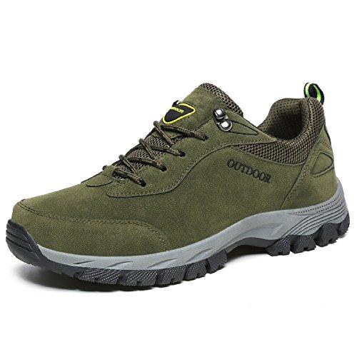 LILY999 Unisex Wanderschuhe Trekking Schuhe Herren Outdoor Rutschfest Hiking Schuhe Sneaker Turnschuhe Armee-Grün-2