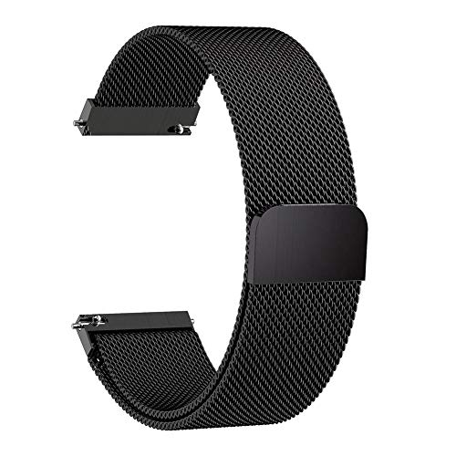 dulawei3 Magnetic Metal Mesh Smart Bracelet Wrist Strap Band Fashion Wristband Replacement for 20/22mm Samsung Galaxy Watch Active Gear S3 Black 22mm