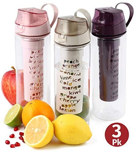 Fruit Infuser Water Bottle 3-pk 25 Oz Unique Fun and Healthy Motivational Infusion Rod Reusable Infused Sports Bottle For Kids and Adults Minimize Sugar- Multi Soft Color Set-BPA Free By  Herevin