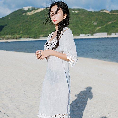 bianco e Yi up spa dimensione lunga Sun spiaggia kit allentati grande bikini White bagno ShouYu ragazza di resort amp; giacca da Seaside codice cover costume una qgqA1zSpU