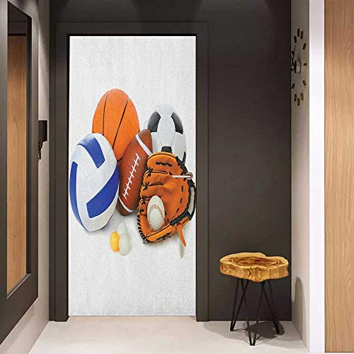 Onefzc Automatic Door Sticker Sports Many Different Sports Balls All Together Championship Ping Pong Volleyball Olympics Easy-to-Clean, Durable W17.1 x H78.7 Multicolor