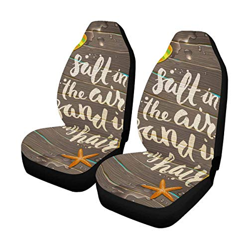 - INTERESTPRINT Tropical Flower Starfish and Flip Flops Car Seat Covers for Front of 2,Vehicle Seat Protector Car Mat Fit Most Car,Truck,SUV,Van