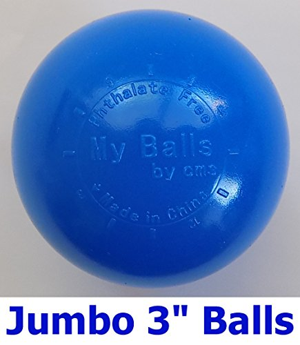 My Balls Pack of 100 Commercial Grade Blue Color Jumbo 3 Crush-Proof Ball Pit Balls - Phthalate Free, BPA Free, PVC Free, in Single Color (Blue, 100)