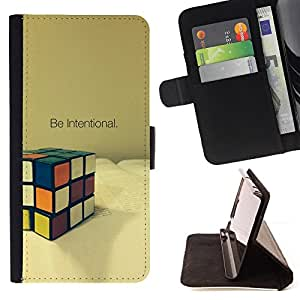 DEVIL CASE - FOR Apple Iphone 4 / 4S - Intentional Cube Game Mathematics Puzzle - Style PU Leather Case Wallet Flip Stand Flap Closure Cover