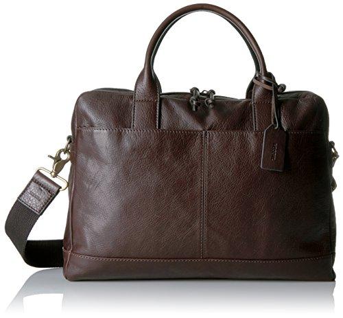 Fossil Men's Wyatt Leather Workbag, Dark Brown - Dark Bro...