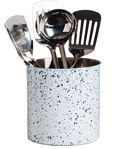 """Palais Essentials Stainless Steel Kitchen Utensil Holder - Crock Organizer Caddy - Great for Large Cooking Tools (6.25"""" Diameter X 6.5"""" High, White Blue Speckle)"""