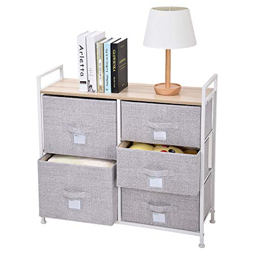 (Ollieroo Fabric 5-Drawer Storage Organizer Dresser Home Organizer Bedside Table End Tables - Linen)