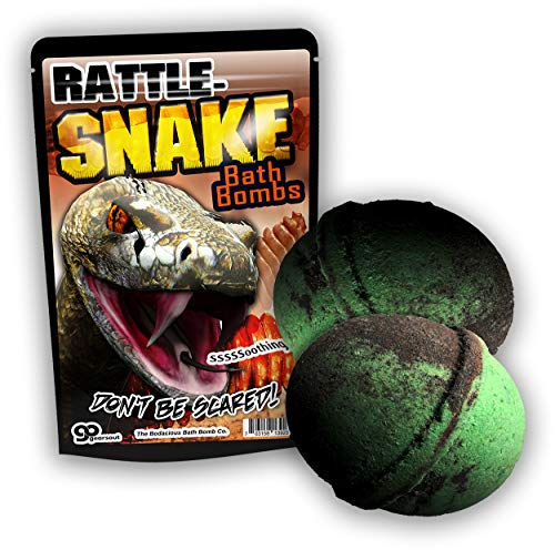Gears Out XL Rattlesnake Bath Bombs Murky Green and Black Bath Balls for Boys Kids Bath Bombs Stocking Stuffers for Teen Boys Cool Bath Bombs for Boys Rattle Snake Bath Fizzers 5 Ounces, Set of 2