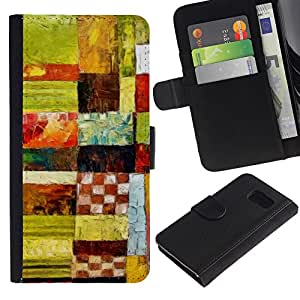 EuroTech - Samsung Galaxy S6 SM-G920 - Plaid Checkered Green Art Pattern Oil - Cuero PU Delgado caso Billetera cubierta Shell Armor Funda Case Cover Wallet Credit Card