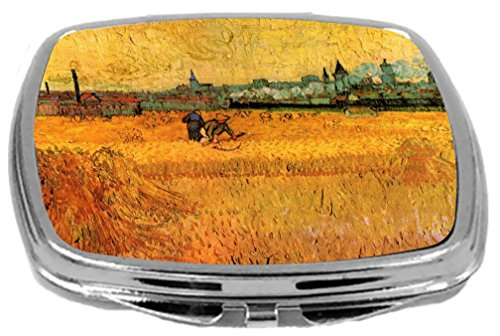Rikki Knight Compact Mirror, Van Gogh Art Arles View From Wheat Fields