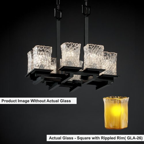 Justice Design Group Lighting ALR-8670-15-MBLK Alabaster Rocks! Collection Montana 8-Light Zig-Zag Chandelier, 35
