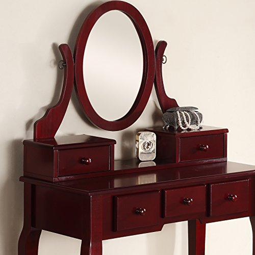 Roundhill Furniture Ashley Wood Make-Up Vanity Table and Stool Set, Cherry - bedroomdesign.us