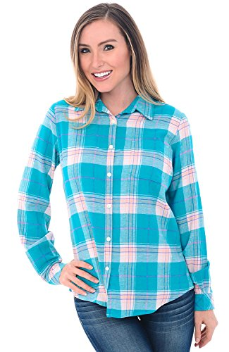 Alexander Del Rossa Womens Flannel Shirt, Button-Down Cotton Boyfriend Top, 2X Teal and Pink Plaid ()