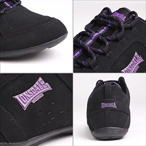 Lonsdale Dollis Baskets pour femme Noir/violet Chaussures de sport Chaussures de sport Chaussures