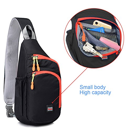 One Shoulder Backpack, Double Zip Side Water Bottle Pocket, for Outdoor Cycling Nailon plástico Orange, by LC Prime Negro