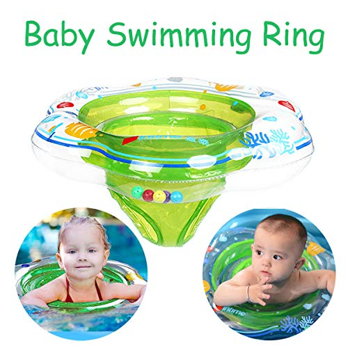 Baby Inflatable Swimming Rings Float with Double Airbags, Infant Swim Float Seat Boats Safety Swimming Boat Trainer Children Bathtub Pool Toys Accessories for Kids Toddlers of 3-36 months Outdoor