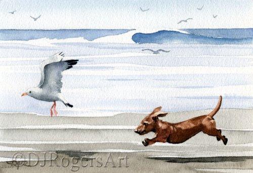 Dachshund At The Beach Art Print by Watercolor Artist DJ ()