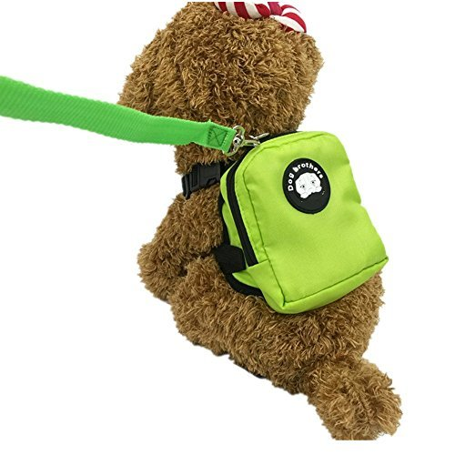 Fully Dog Backpack Durable Pocket Saddle Bag Mini Carrier Harness with Training Lead Leash Hiking Walking Travel (color ramdom) (M, color random) by Fully