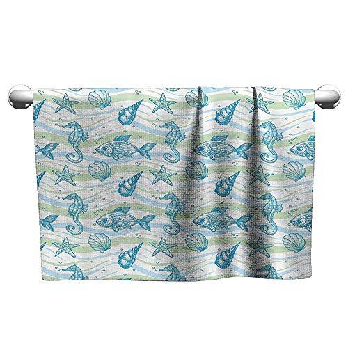 DUCKIL Bathroom Hand Towels Set Nautical Marine Ocean Shell Starfish Oyster Mollusk Sea Horse Underwater Aquatic Pattern Personalized Bath Sheet 39 x 20 inch Mint Blue