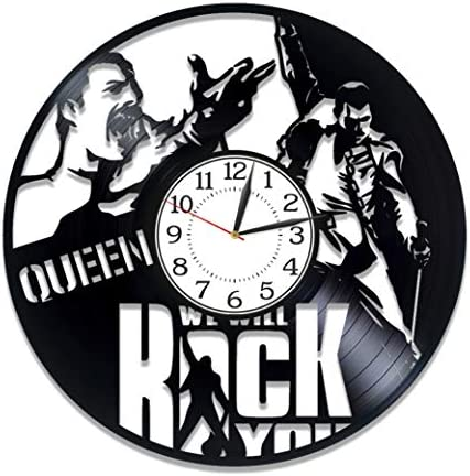 Kovides Queen Vinyl Clock 12 Inch Rock Music Band Birthday Gift Idea Freddie Mercury Vinyl Record Wall Clock Music Handmade Clock