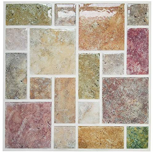 Pop Resin Peel and Stick Kitchen Backsplash Tiles 9X9 inch Colorful Marmo Wall Tile Stickers (5) ()