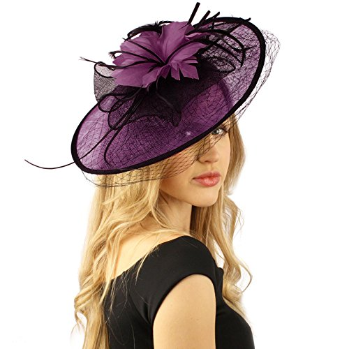 Oval Sinamay Feathers Floral Net Fascinators Millinery Cocktail Derby Hat Purple Oval Race