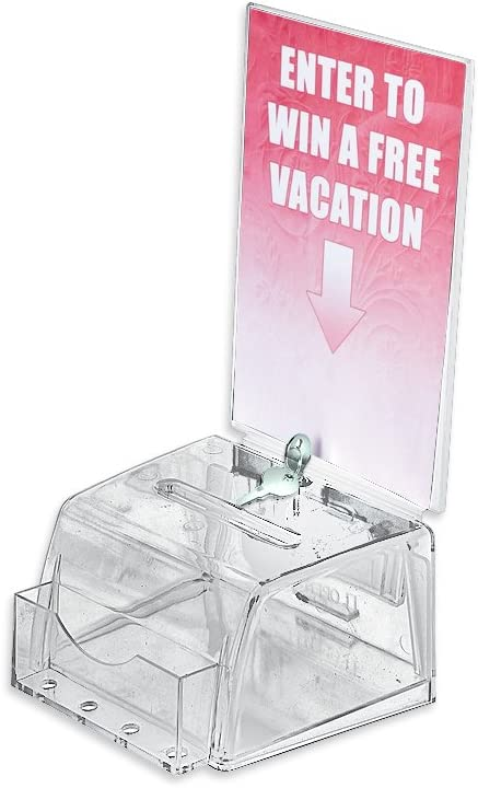 """Lock and Keys  9/"""" W x 6.25/"""" H x 6.25/"""" D Clear Large Suggestion Box with Pocket"""