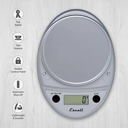 Escali Primo P115C Precision Kitchen Food Scale for Baking and Cooking, Lightweight and Durable Design, LCD Digital Display, Lifetime ltd. Warranty, Chrome