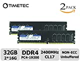 Timetec Hynix IC 32GB Kit (2x16GB) DDR4 2400 MHz PC4-19200 Non-ECC Unbuffered 1.2V CL17 2Rx8 Dual Rank 288 Pin UDIMM Desktop PC Computer Memory Ram Module Upgrade (32GB Kit (2x16GB))