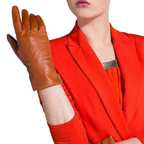 er Women's Full Finger Genuine Leather Windproof Gloves Non-Slip Details For Sport Large Brown ()