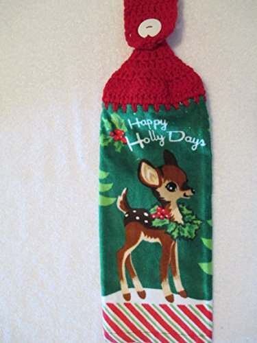 Crocheted Christmas Happy Holly Days Kitchen Towel with Red Yarn
