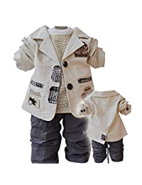Toddler Little Boys Spring Autumn 3pcs Clothing Sets Shirts+Jacket+Pants