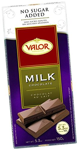 Valor Chocolates No Sugar Added Milk Chocolate 3.5 Ounce (Pack of 17)